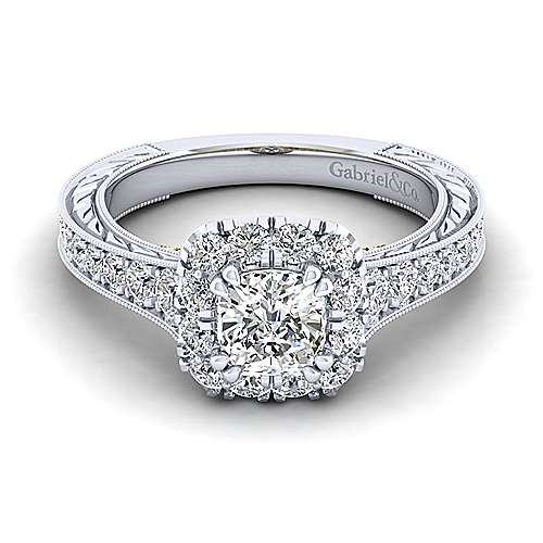 Gabriel - Samantha 14k Yellow And White Gold Cushion Cut Halo Engagement Ring