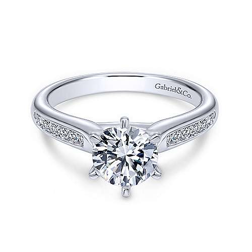 Gabriel - Samira 14k White Gold Round Straight Engagement Ring