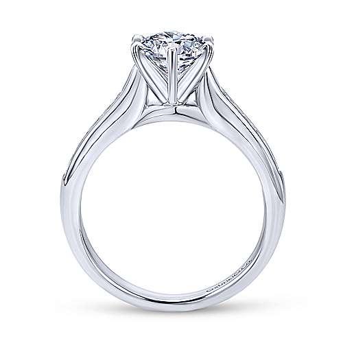 Samira 14k White Gold Round Straight Engagement Ring angle 2