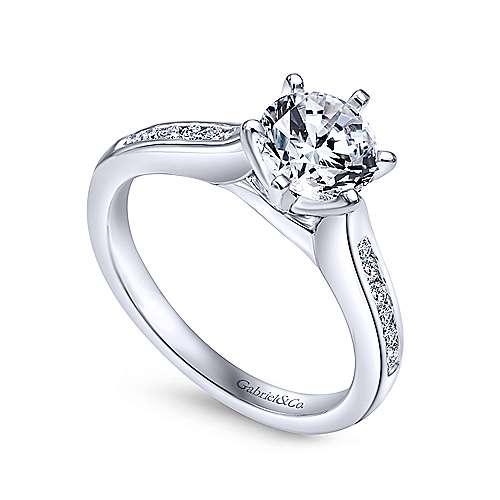 Samira 14k White Gold Round Straight Engagement Ring angle 3