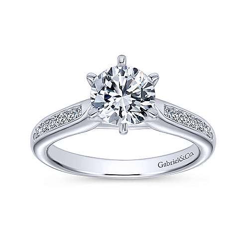 Samira 14k White Gold Round Straight Engagement Ring angle 5