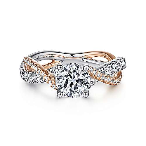 Gabriel - Sandrine 14k White And Rose Gold Round Twisted Engagement Ring