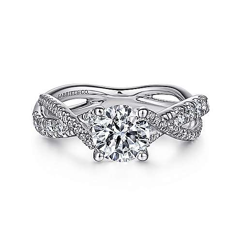 Sandrine 14k White Gold Round Twisted Engagement Ring