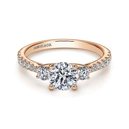 Gabriel - Sandy 14k Rose Gold Round 3 Stones Engagement Ring