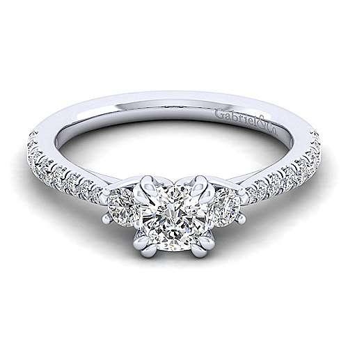Gabriel - Sandy 14k White Gold Cushion Cut 3 Stones Engagement Ring