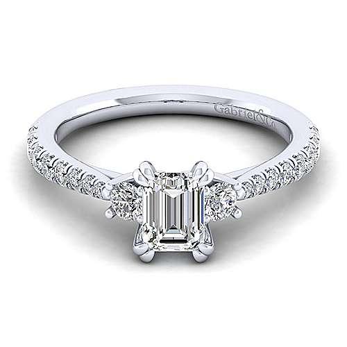 Gabriel - Sandy 14k White Gold Emerald Cut 3 Stones Engagement Ring