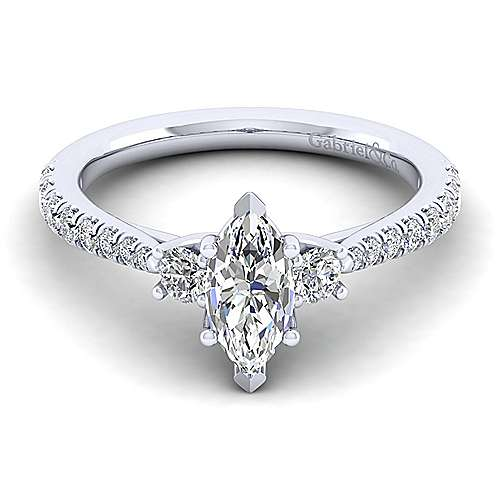 Gabriel - Sandy 14k White Gold Marquise  3 Stones Engagement Ring