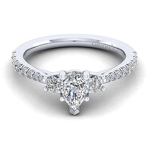 Gabriel - Sandy 14k White Gold Pear Shape 3 Stones Engagement Ring