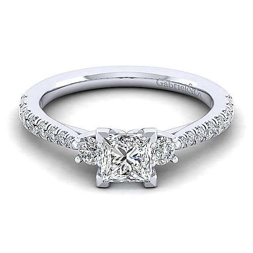 Gabriel - Sandy 14k White Gold Princess Cut 3 Stones Engagement Ring