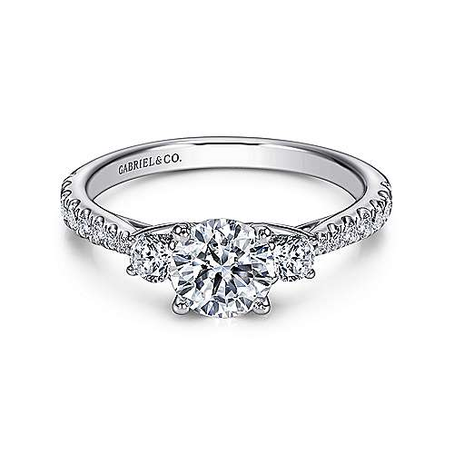Sandy 14k White Gold Round 3 Stones Engagement Ring angle 1
