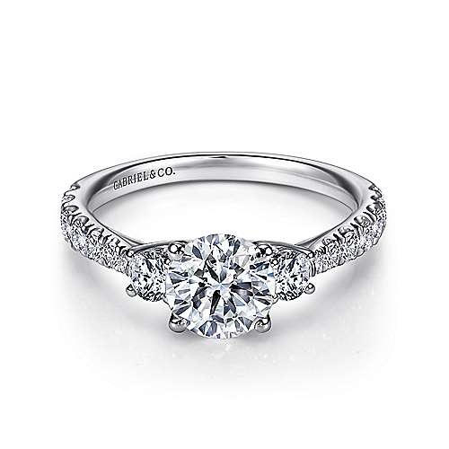 Gabriel - Sandy 14k White Gold Round 3 Stones Engagement Ring