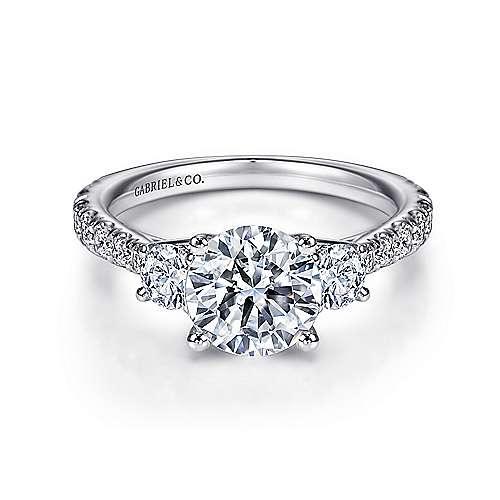 Gabriel - Sandy 14k White Gold Round 3 Stones Engagement Ring
