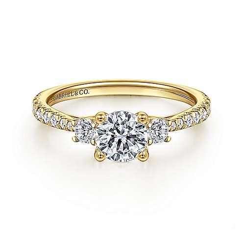 Gabriel - Sandy 14k Yellow Gold Round 3 Stones Engagement Ring