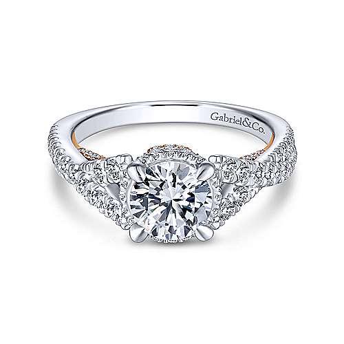 Gabriel - Santorini 14k White And Rose Gold Round Split Shank Engagement Ring