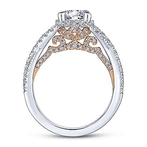Santorini 14k White And Rose Gold Round Split Shank Engagement Ring angle 2
