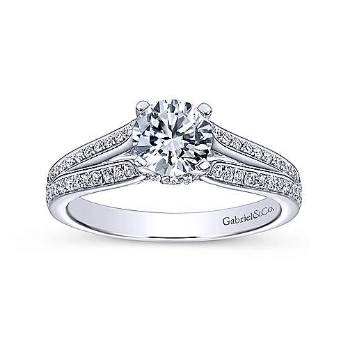 Saoirse 14k White Gold Round Split Shank Engagement Ring angle 5
