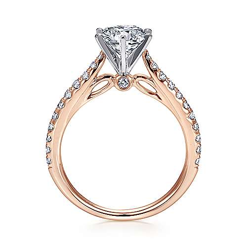 Sarah 14k White And Rose Gold Round Straight Engagement Ring angle 2