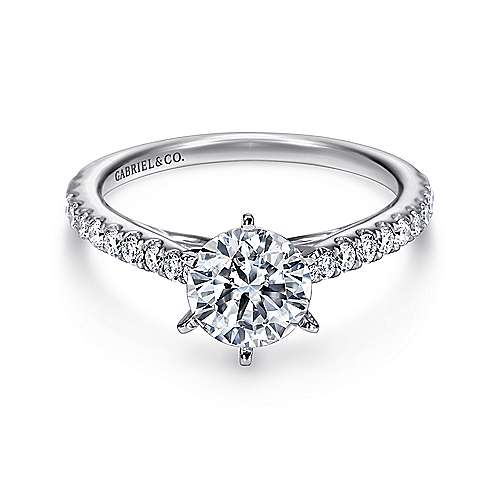 Gabriel - Sarah 14k White Gold Round Straight Engagement Ring
