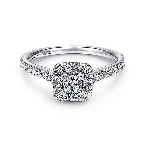 Gabriel - Sarai 14k White Gold Princess Cut Halo Engagement Ring