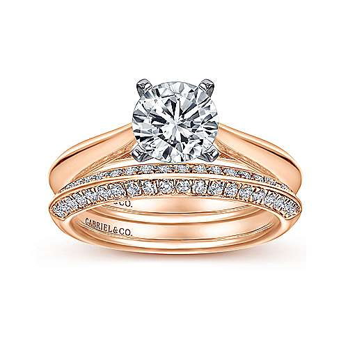 Sasha 14k White And Rose Gold Round Solitaire Engagement Ring angle 4