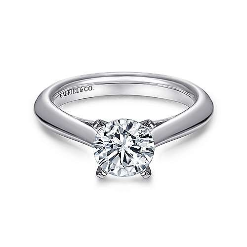 Sasha 14k White Gold Round Solitaire Engagement Ring angle 1