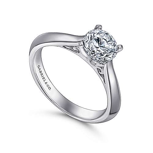 Sasha 14k White Gold Round Solitaire Engagement Ring angle 3