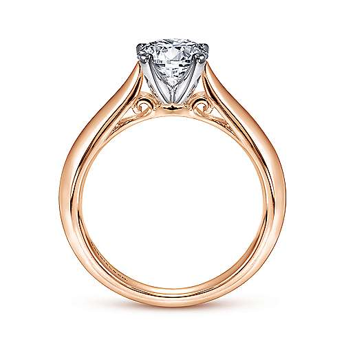 Sasha 14k White/pink Gold Round Solitaire Engagement Ring angle 2