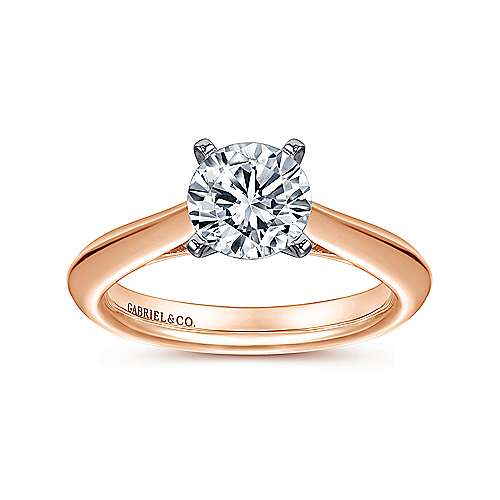 Sasha 14k White/pink Gold Round Solitaire Engagement Ring angle 5