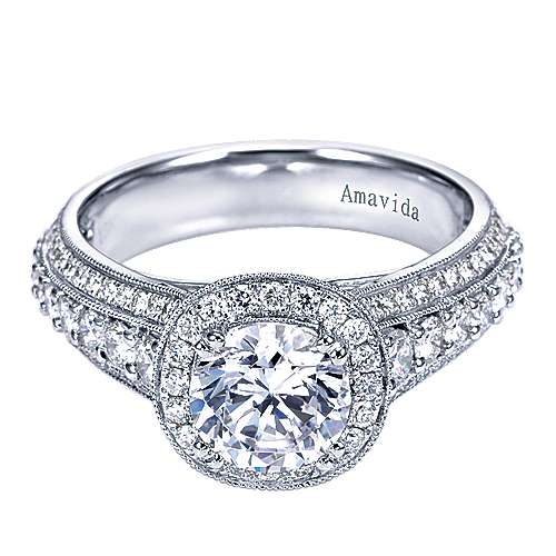Satin 18k White Gold Round Halo Engagement Ring angle 1