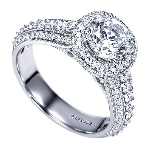 Satin 18k White Gold Round Halo Engagement Ring angle 3