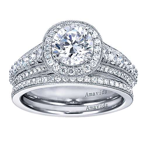 Satin 18k White Gold Round Halo Engagement Ring angle 4