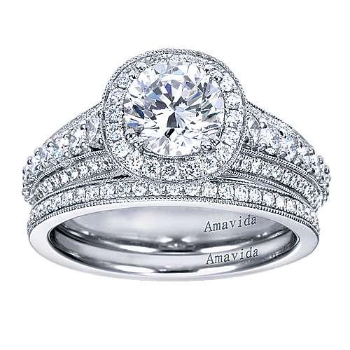 Satin 18k White Gold Round Halo Engagement Ring