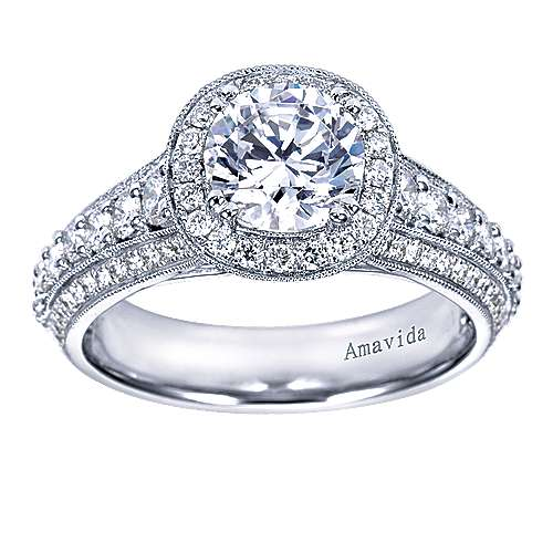 Satin 18k White Gold Round Halo Engagement Ring angle 5