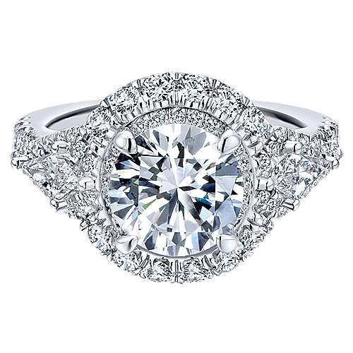 Gabriel - Satya 18k White Gold Round Double Halo Engagement Ring