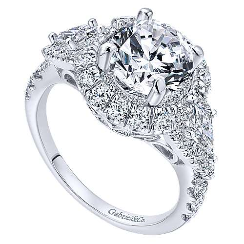 Satya 18k White Gold Round Double Halo Engagement Ring angle 3