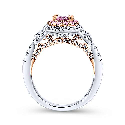 Saul 14k White And Rose Gold Oval Double Halo Engagement Ring angle 2