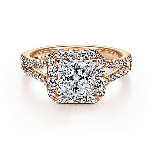 Gabriel - Savannah 14k Pink Gold Princess Cut Halo Engagement Ring