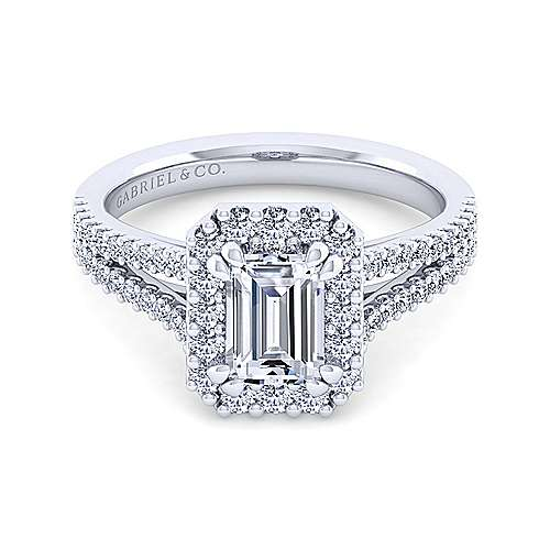 Gabriel - Savannah 14k White Gold Emerald Cut Halo Engagement Ring