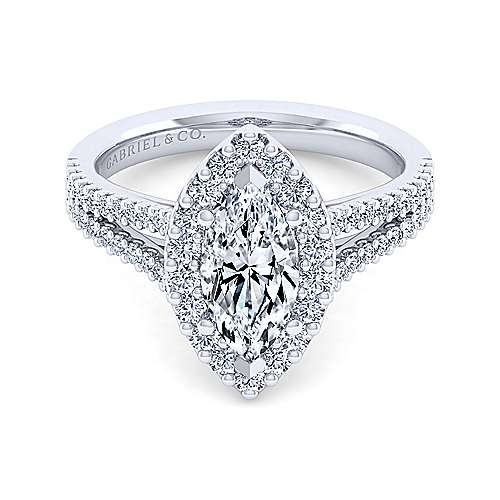 Gabriel - Savannah 14k White Gold Marquise  Halo Engagement Ring
