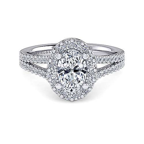 Gabriel - Savannah 14k White Gold Oval Halo Engagement Ring