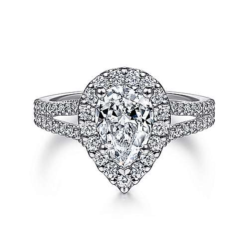 Gabriel - Savannah 14k White Gold Pear Shape Halo Engagement Ring