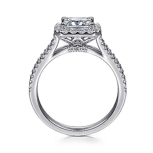 Savannah 14k White Gold Princess Cut Halo Engagement Ring angle 2