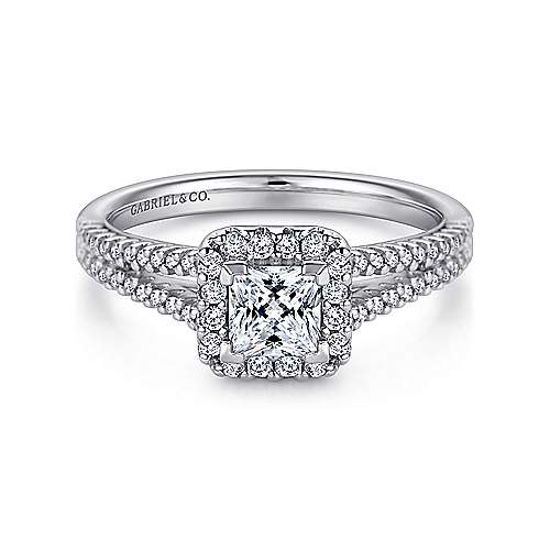 Gabriel - Savannah 14k White Gold Princess Cut Halo Engagement Ring