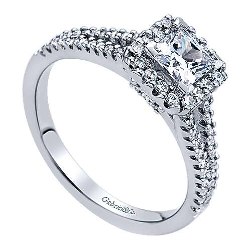 Savannah 14k White Gold Princess Cut Halo Engagement Ring