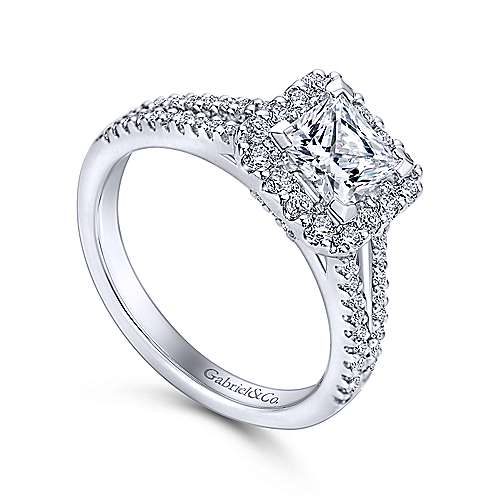 Savannah 14k White Gold Princess Cut Halo Engagement Ring angle 3