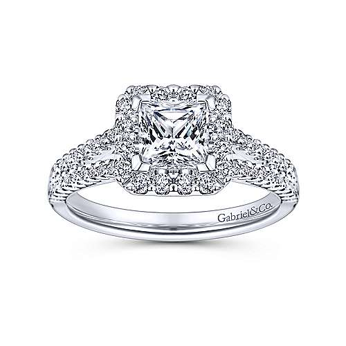 Savannah 14k White Gold Princess Cut Halo Engagement Ring angle 5