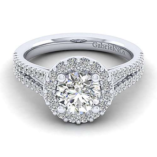 Gabriel - Savannah 14k White Gold Round Halo Engagement Ring
