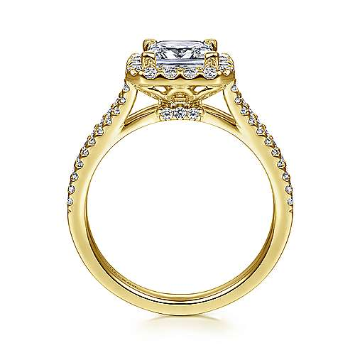 Savannah 14k Yellow Gold Princess Cut Halo Engagement Ring angle 2