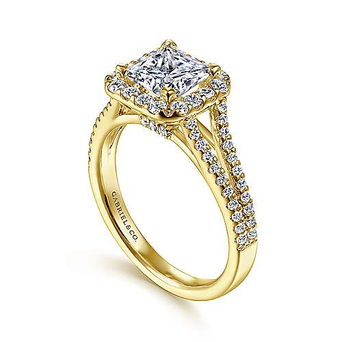Savannah 14k Yellow Gold Princess Cut Halo Engagement Ring angle 3