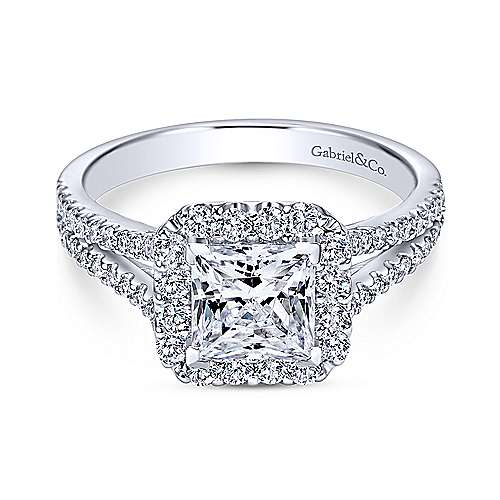 Gabriel - Savannah 18k White Gold Princess Cut Halo Engagement Ring